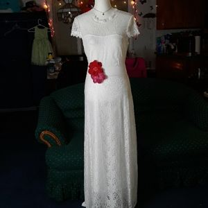 White lace double layered dress w flower accents